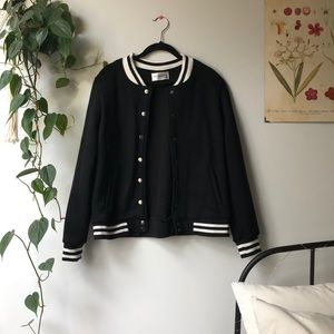 Black Retro Bomber Sweater